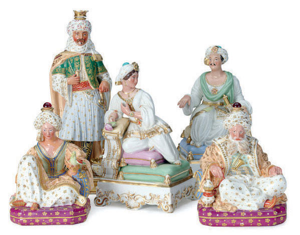 A PAIR OF FRENCH PORCELAIN FIGURAL SCENT BOTTLES OF A SULTAN AND SULTANA,