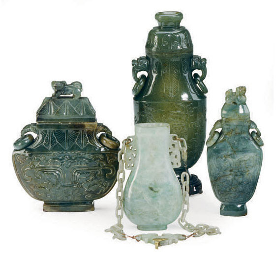 Three Chinese Jade And Jadeite Vases And Covers 19th20th Century