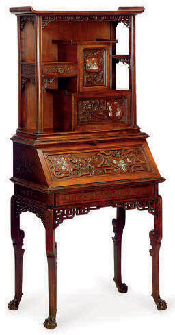 A FRENCH MOTHER-OF-PEARL-INLAID STAINED WOOD SECRETAIRE CABINET,