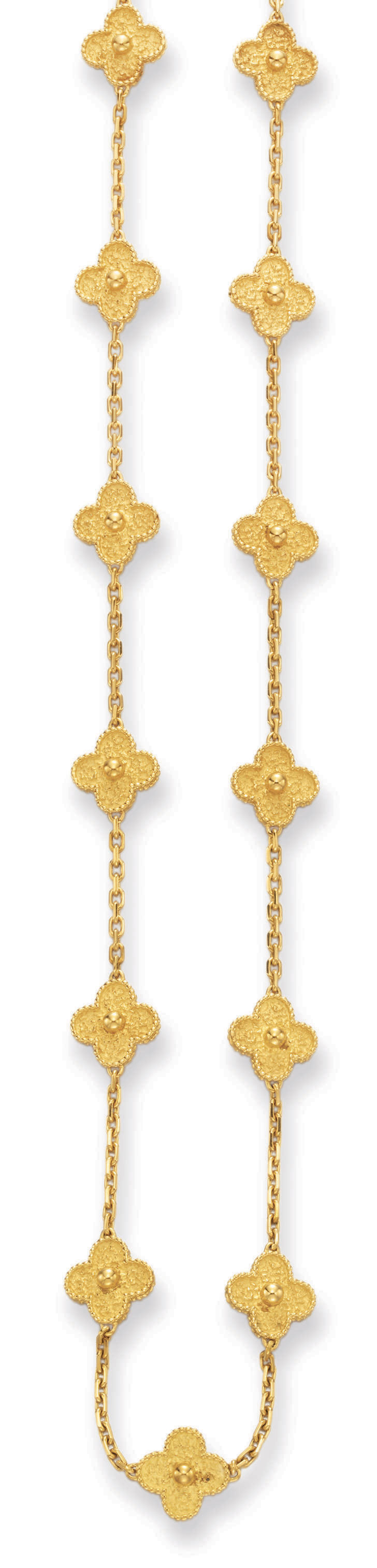 """A GOLD """"ALHAMBRA"""" NECKLACE, BY VAN CLEEF & ARPELS"""
