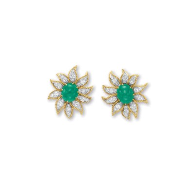 A PAIR OF EMERALD, DIAMOND AND