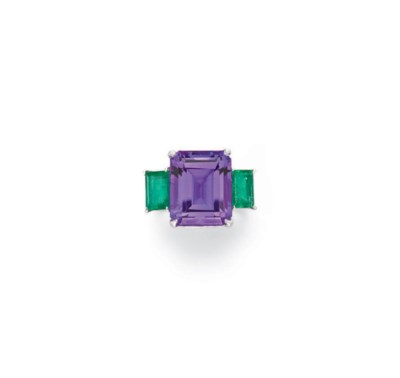AN AMETHYST, EMERALD AND DIAMO