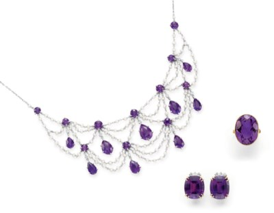 A GROUP OF AMETHYST, SEED PEAR