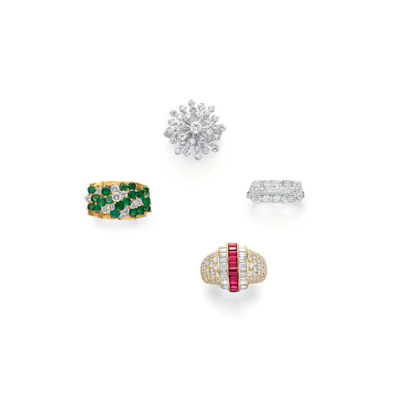 A GROUP OF MULTI-GEM AND DIAMOND RINGS