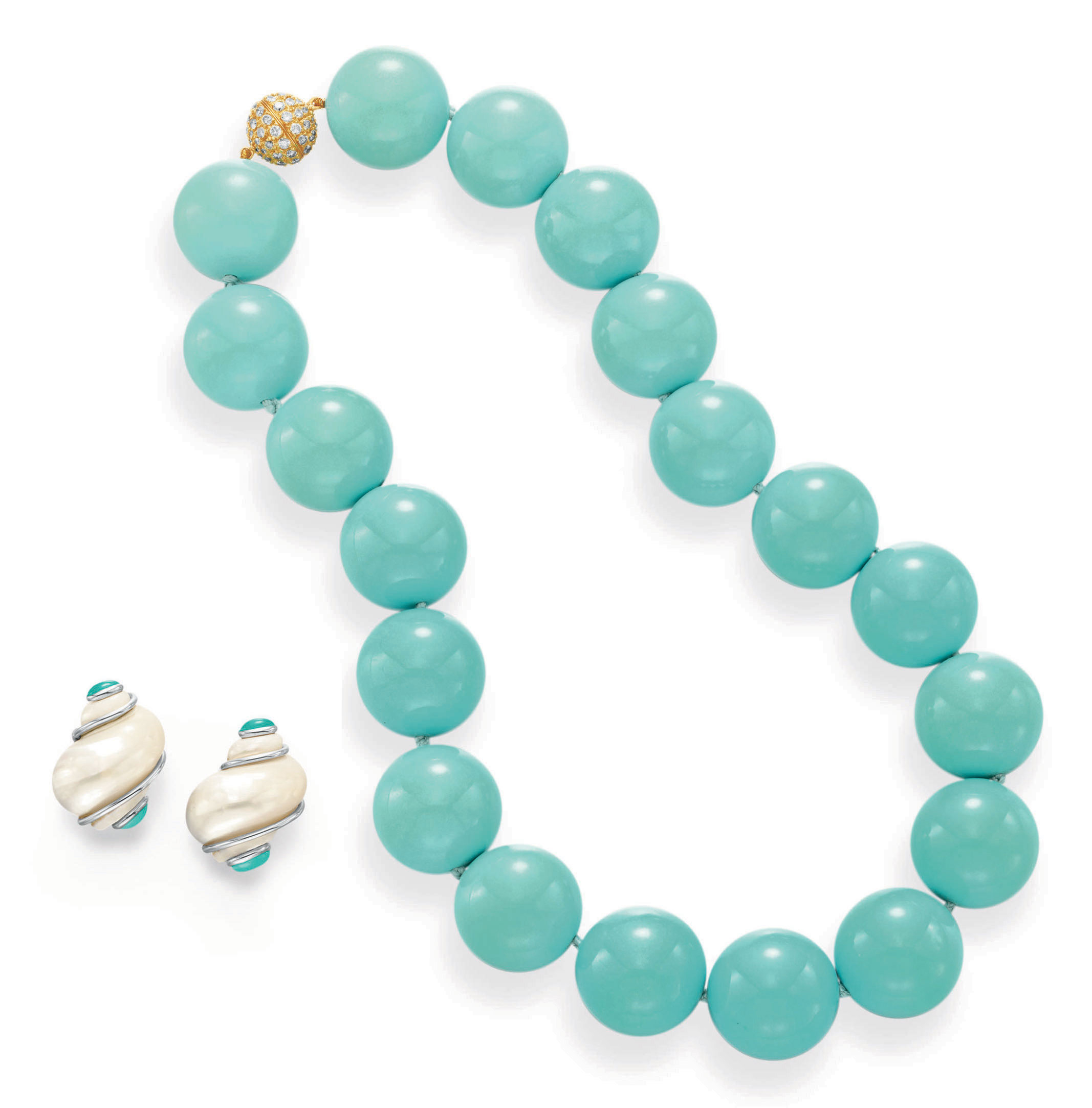 ~A GROUP OF TURQUOISE, MOTHER-OF-PEARL AND DIAMOND JEWELRY