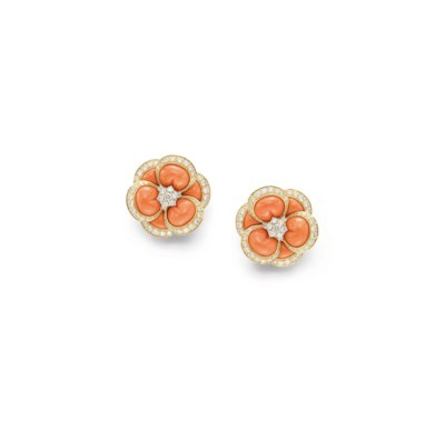 ~A PAIR OF CORAL, DIAMOND AND