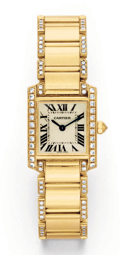 """A GOLD AND DIAMOND """"TANK FRANCAISE"""" WRISTWATCH, BY CARTIER"""