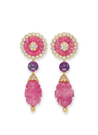 A PAIR OF PINK TOURMALINE, AME