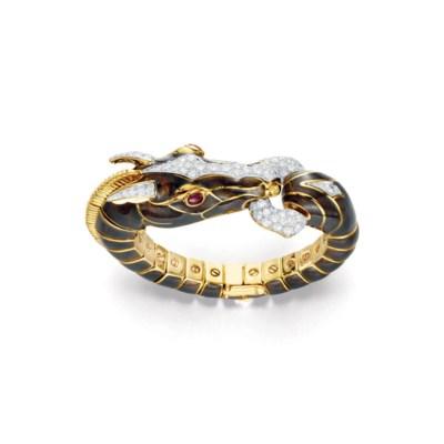 A DIAMOND, RUBY AND ENAMEL HOR