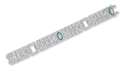 A DIAMOND AND EMERALD BRACELET