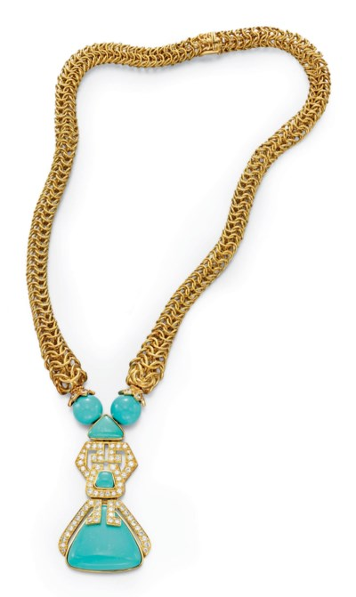 A DIAMOND, TURQUOISE AND GOLD