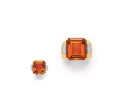 A SET OF RETRO CITRINE, DIAMON