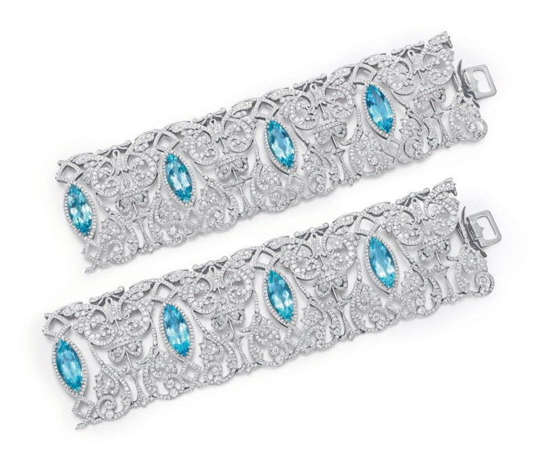 A diamond and aquamarine choker neckace, by Tiffany & Co., signed Tiffany & Co.Sold for $80,500 on 20 October 2010 at Christie's in New York