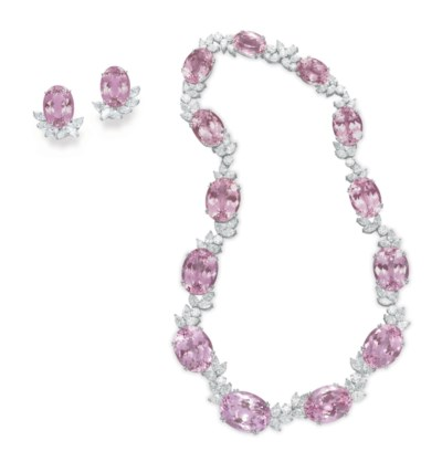 A SUITE OF KUNZITE AND DIAMOND
