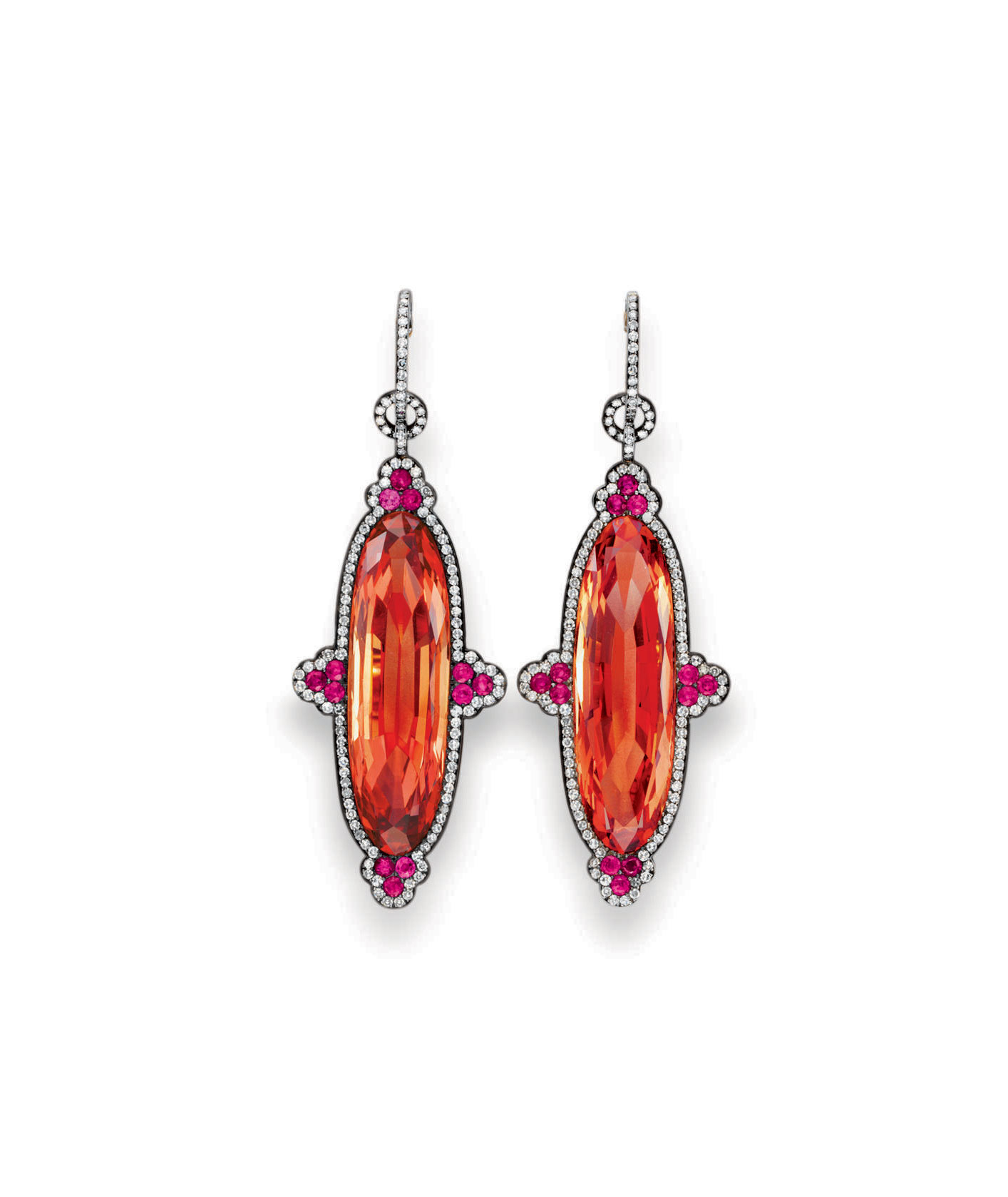 A PAIR OF IMPERIAL TOPAZ, RUBY AND DIAMOND EAR PENDANTS, BY JAR