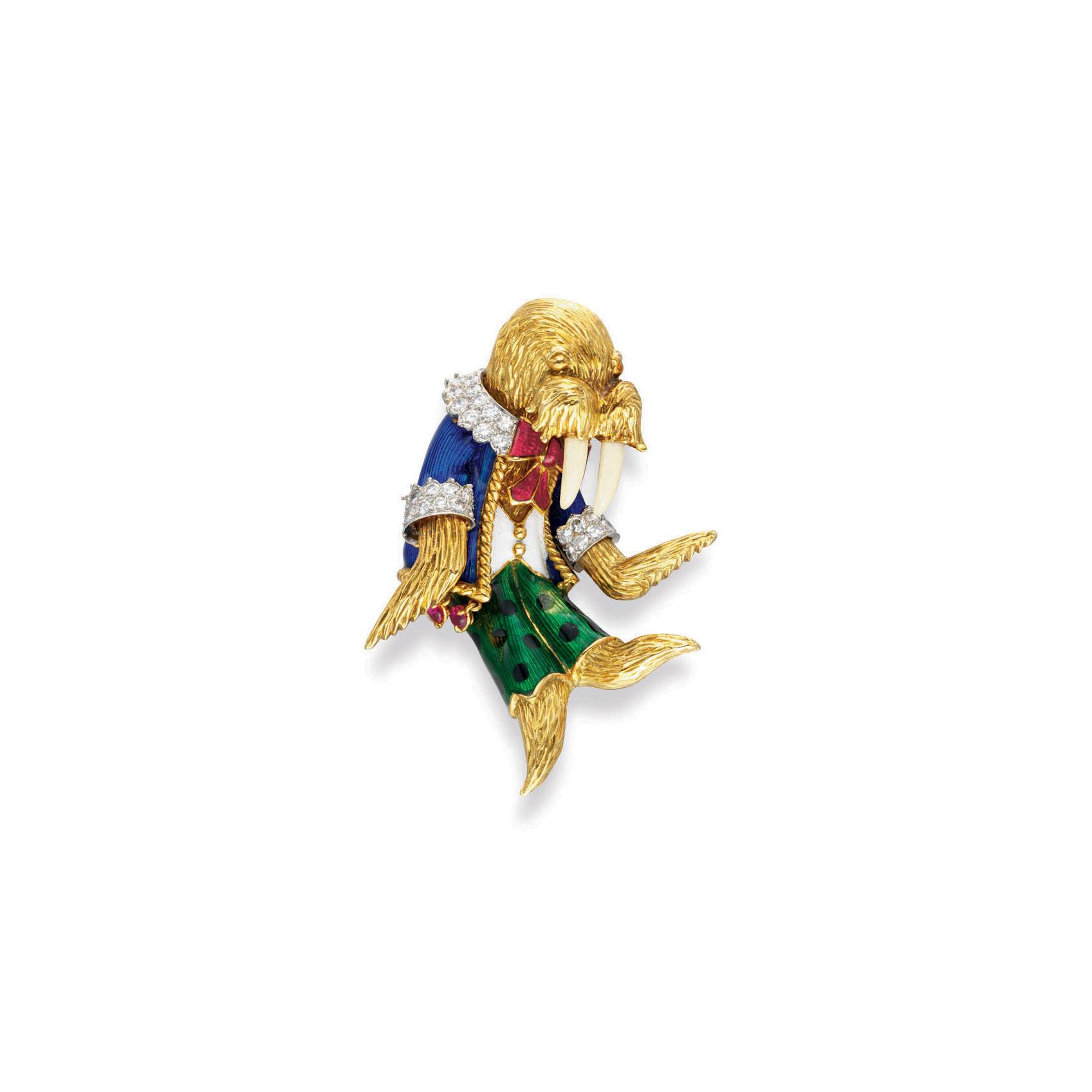~A DIAMOND, MULTI-GEM, ENAMEL AND GOLD WALRUS BROOCH, BY DONALD CLAFLIN, TIFFANY & CO.