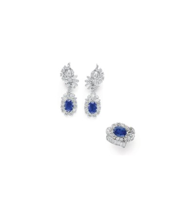 A SET OF DIAMOND AND SAPPHIRE