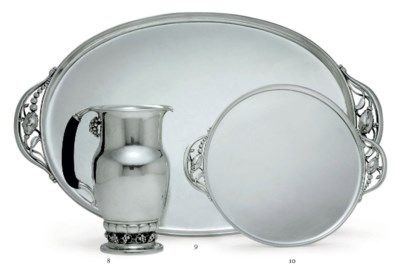 A DANISH SILVER TEA TRAY, DESI