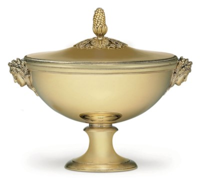 A FRENCH SILVER-GILT SOUP TURE