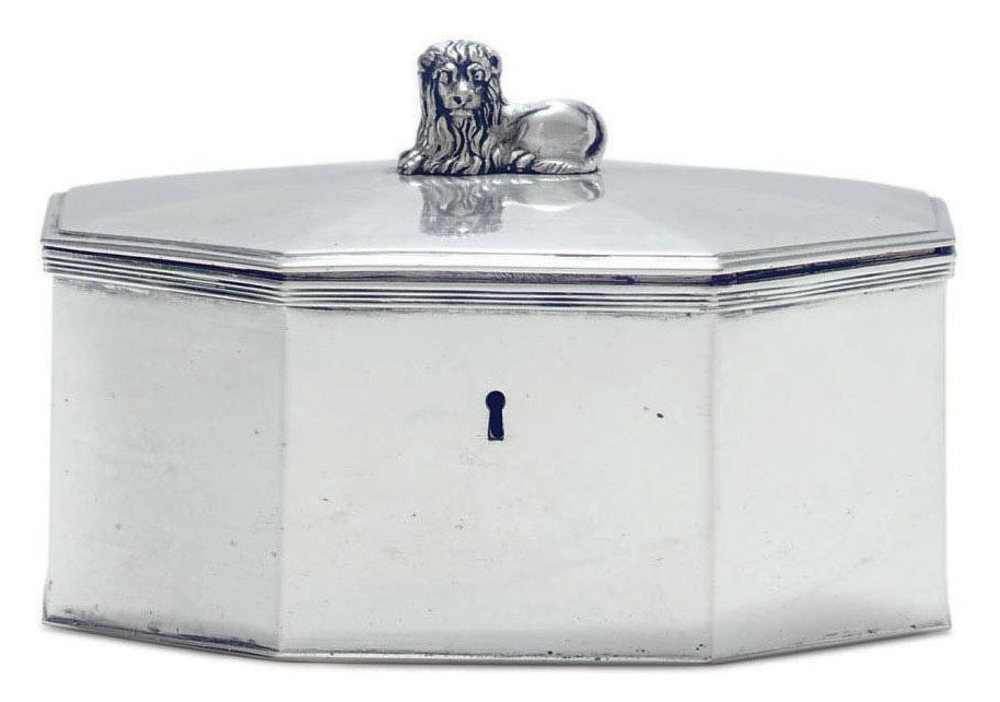 A POLISH SILVER TEA CADDY
