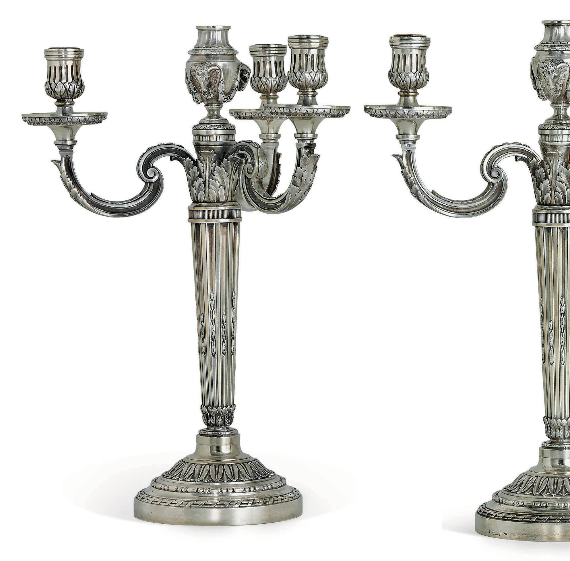 A PAIR OF FRENCH SILVER-GILT FOUR-LIGHT CANDELABRA