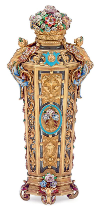 A FRENCH ENAMELLED AND GOLD-MO