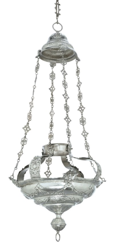 A SPANISH SILVER HANGING LAMP