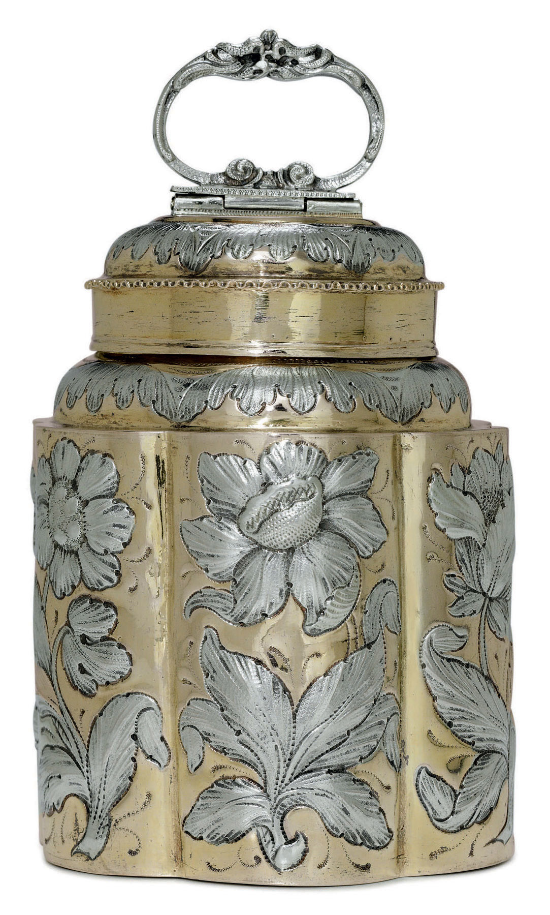 A FINE GERMAN SILVER-GILT CANNISTER