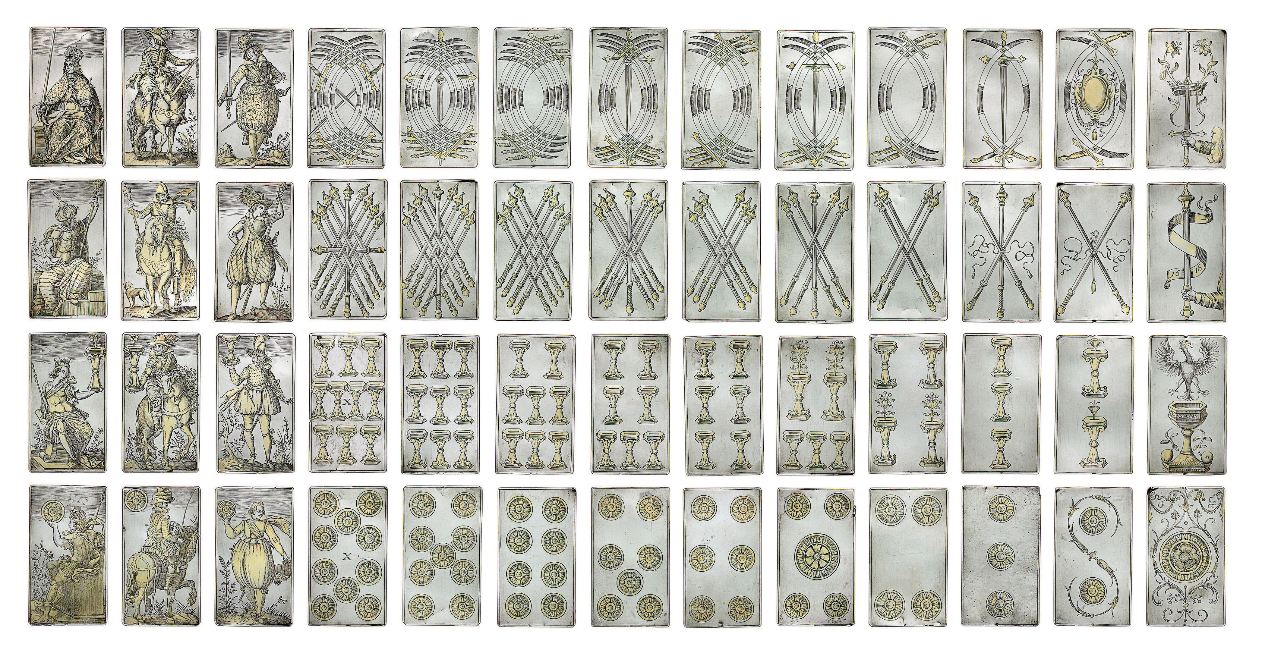 AN EXTREMELY RARE SET OF GERMAN ENGRAVED AND PARCEL-GILT SILVER PLAYING CARDS