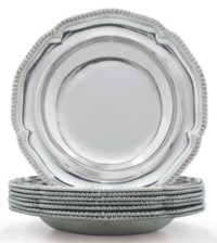 A SET OF EIGHT GEORGE III SILVER SOUP PLATES