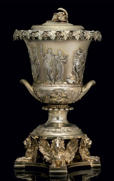 A REGENCY SILVER COVERED WINE