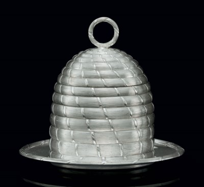 A GEORGE III SILVER HONEY POT