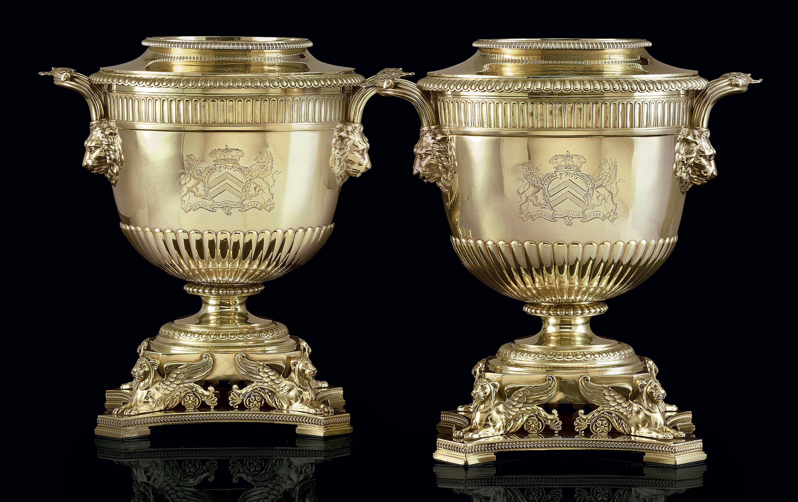 A PAIR OF GEORGE III SILVER-GILT WINE COOLERS