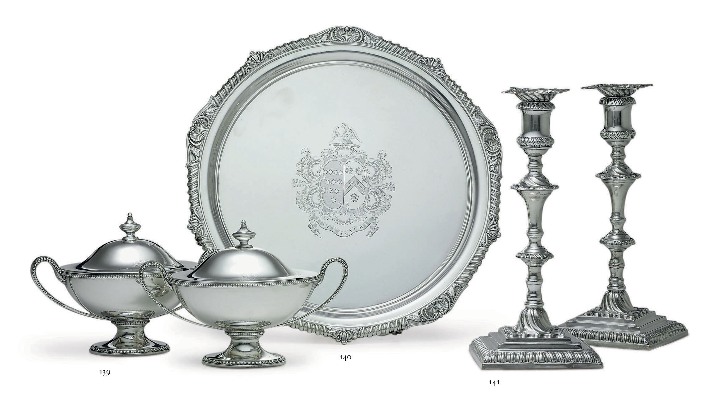 A PAIR OF GEORGE III SILVER SAUCE TUREENS AND COVERS