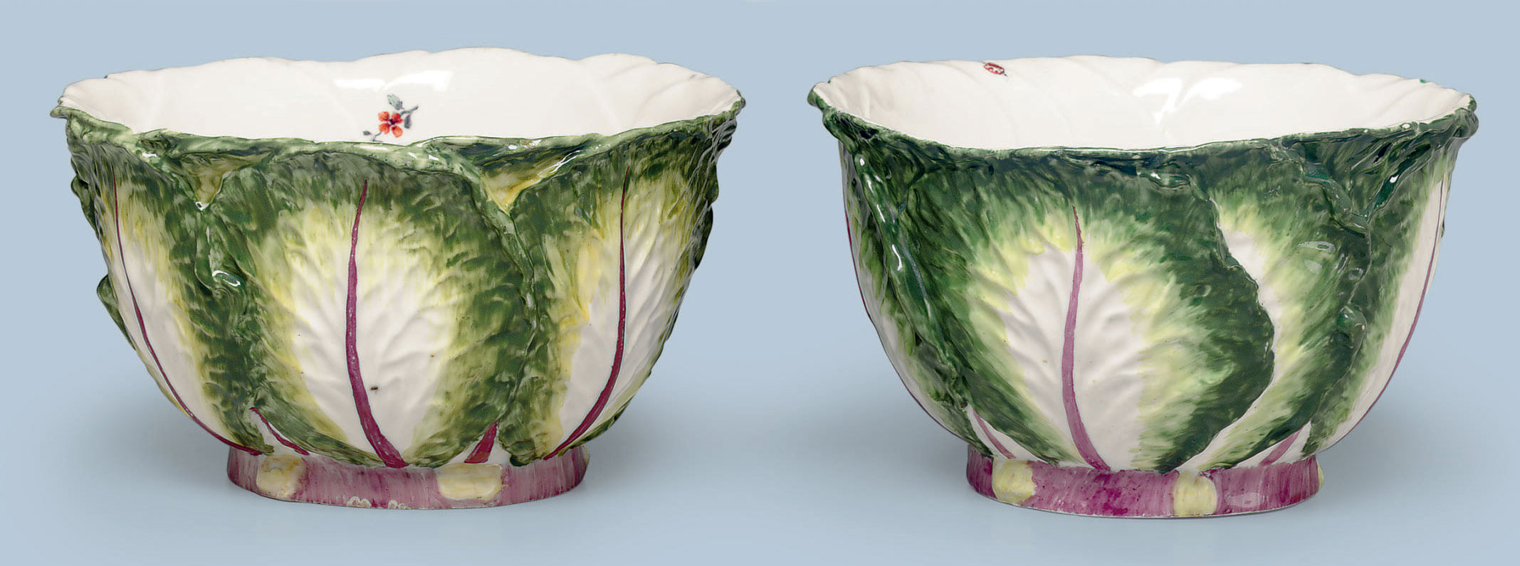 TWO CHELSEA PORCELAIN CABBAGE-LEAF BOWLS