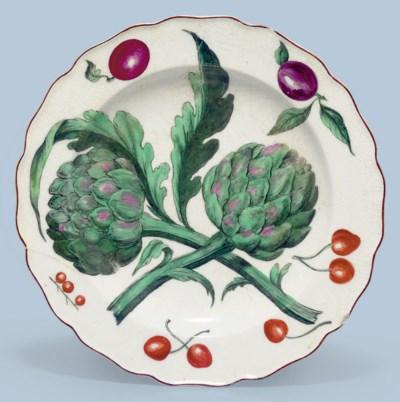 A CHELSEA PORCELAIN PLATE