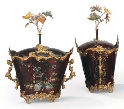 A PAIR OF FRENCH TOLE POLYCHRO