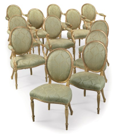 A SET OF TWELVE GILTWOOD CHAIR