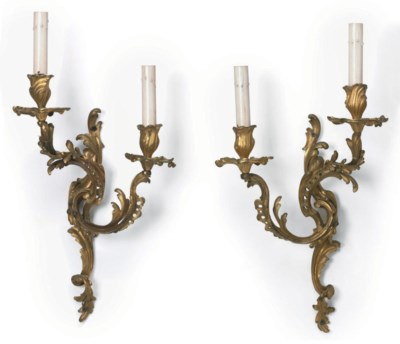A PAIR OF LOUIS XV ORMOLU TWO-