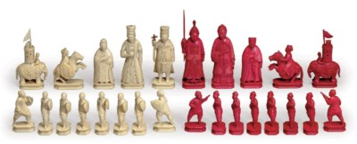 A CHINESE CARVED IVORY CHESS S
