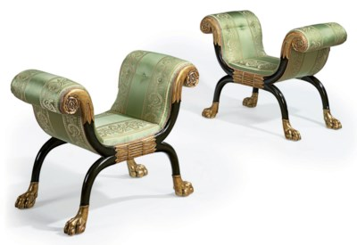 A PAIR OF REGENCY BRONZE-PAINT