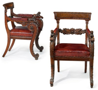 A PAIR OF GEORGE IV OAK AND PO