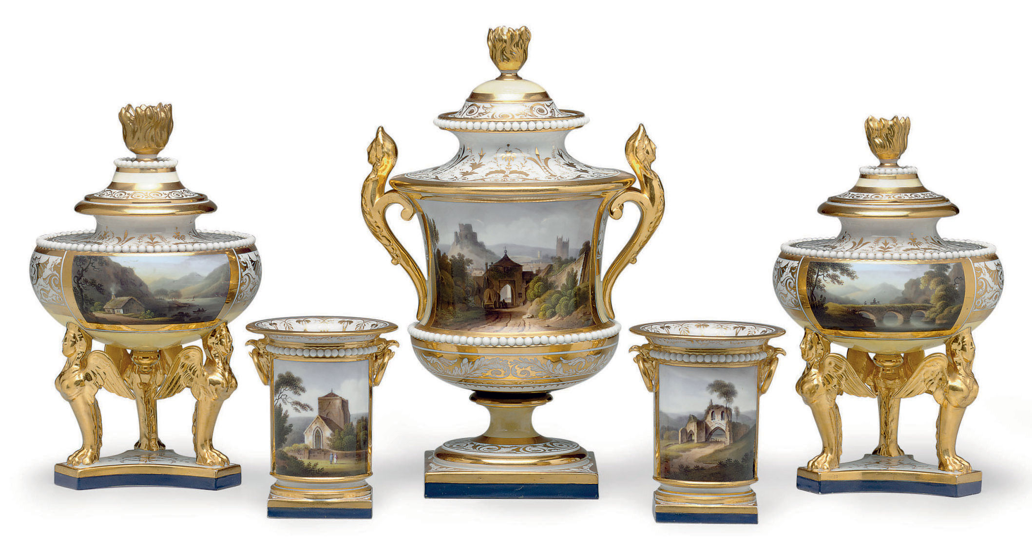 A WORCESTER (FLIGHT, BARR & BARR) PORCELAIN PALE-YELLOW GROUND TOPOGRAPHICAL FIVE-PIECE GARNITURE