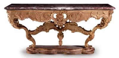 A GERMAN GILTWOOD CONSOLE TABL