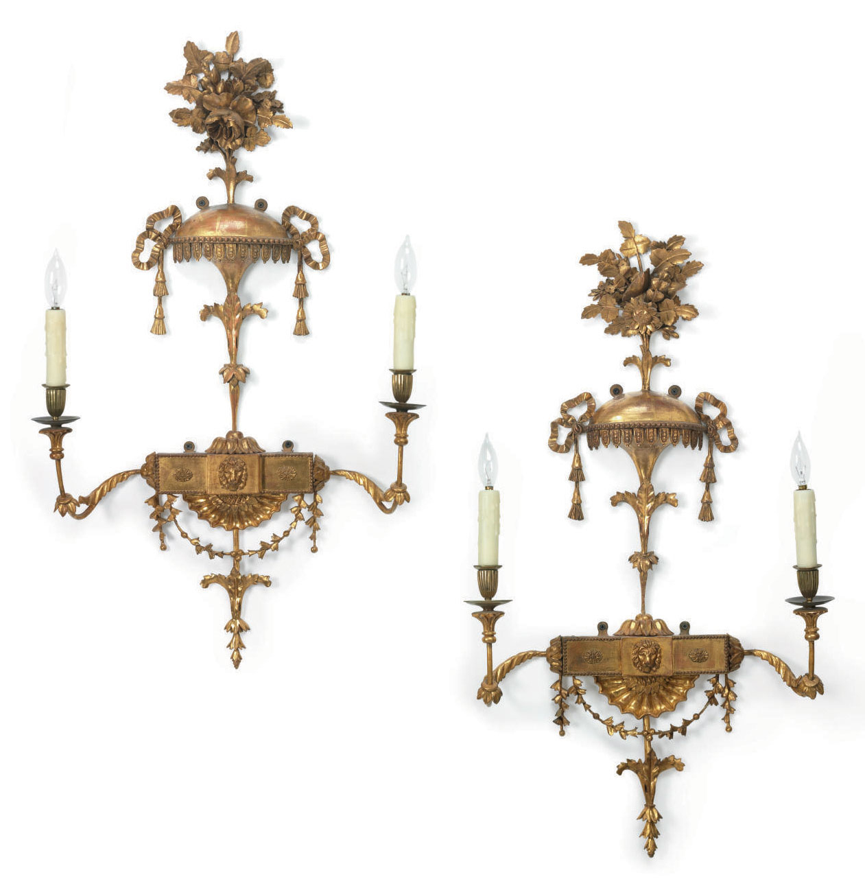A PAIR OF GEORGE III GILTWOOD TWO-BRANCH WALL-LIGHTS