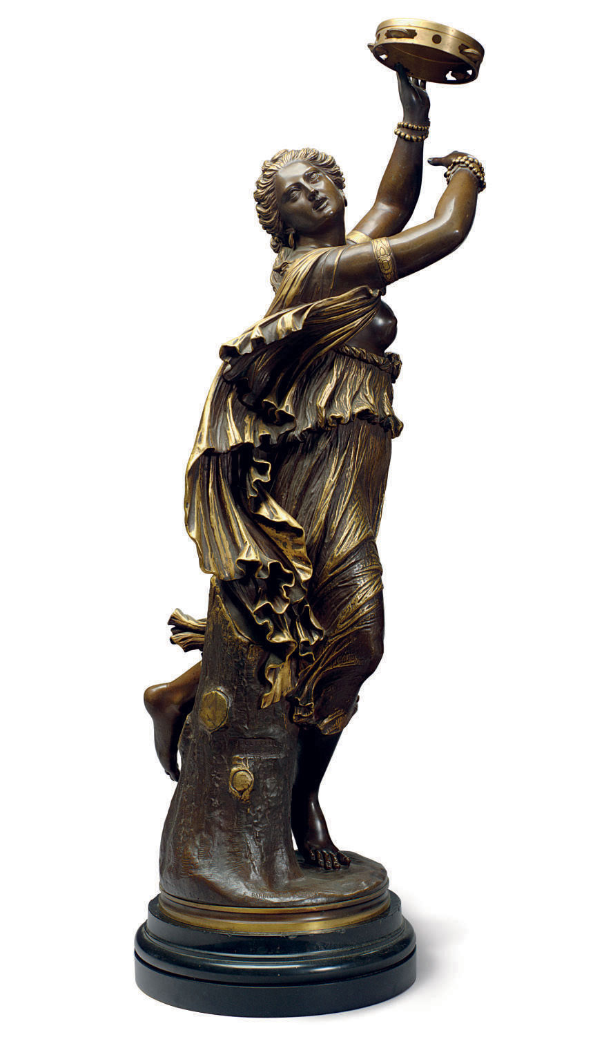 A FRENCH PARCEL-GILT AND PATINATED BRONZE FIGURE OF A DANCER ENTITLED 'ZINGARA'