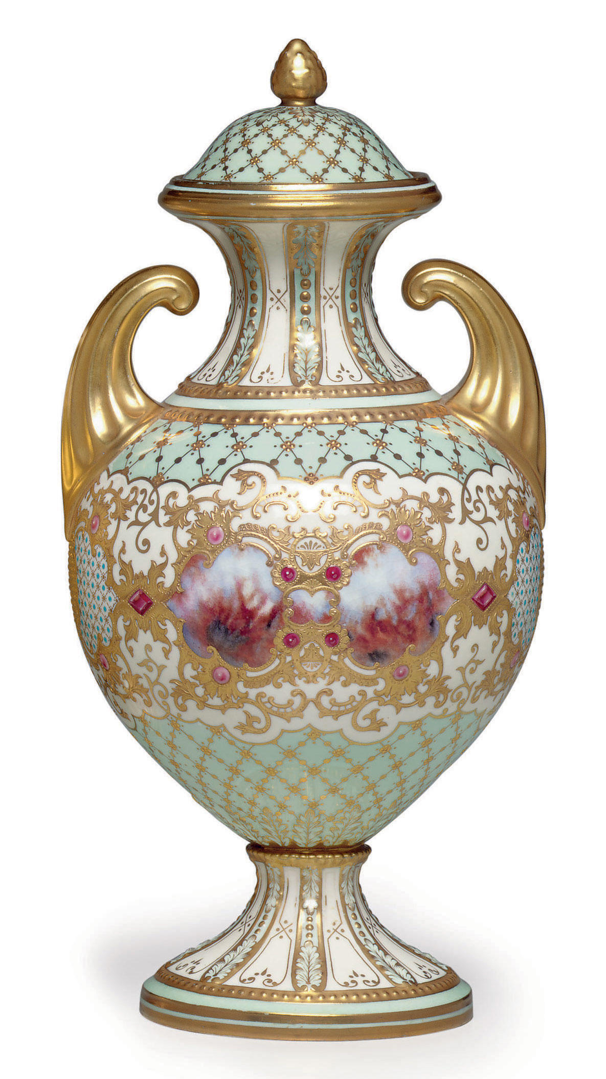 A COALPORT PORCELAIN 'JEWELED' PALE-BLUE AND WHITE GROUND VASE AND COVER