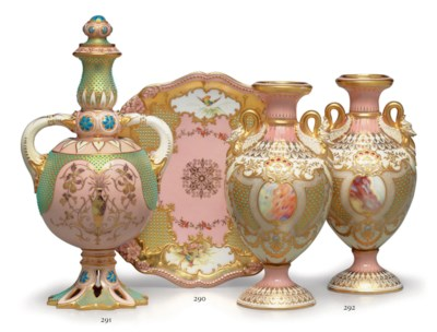 A COALPORT PORCELAIN 'JEWELED'