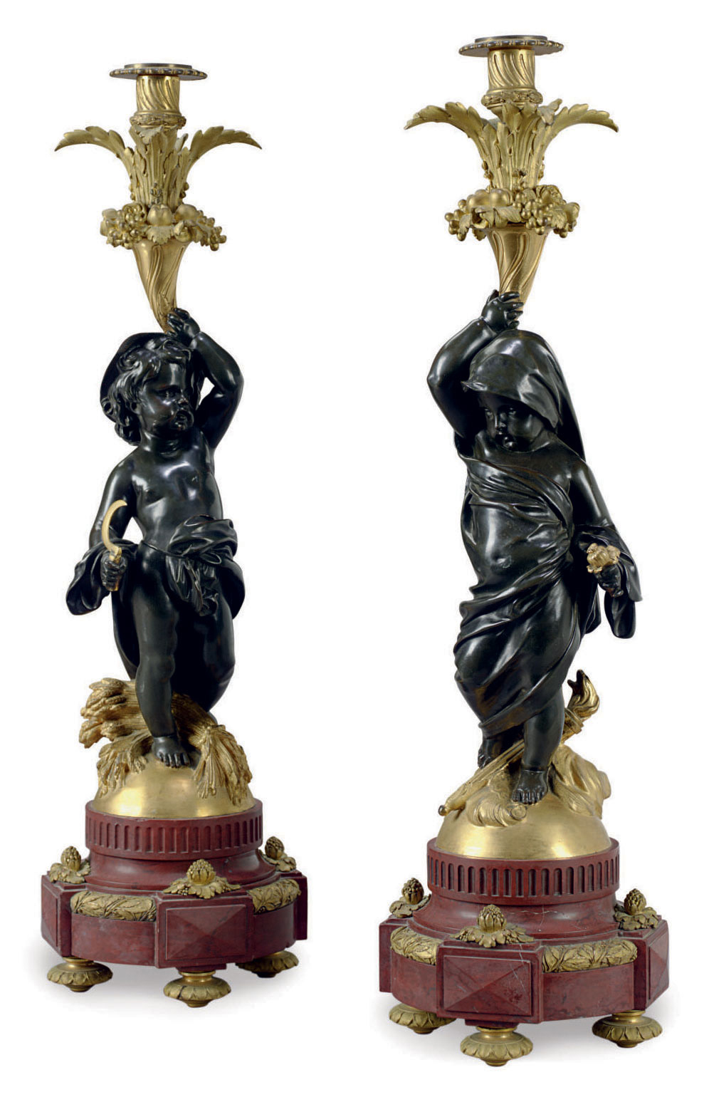 A PAIR OF FRENCH ORMOLU, PATINATED BRONZE AND ROUGE MARBLE FIGURAL CANDLESTICKS, MOUNTED AS LAMPS