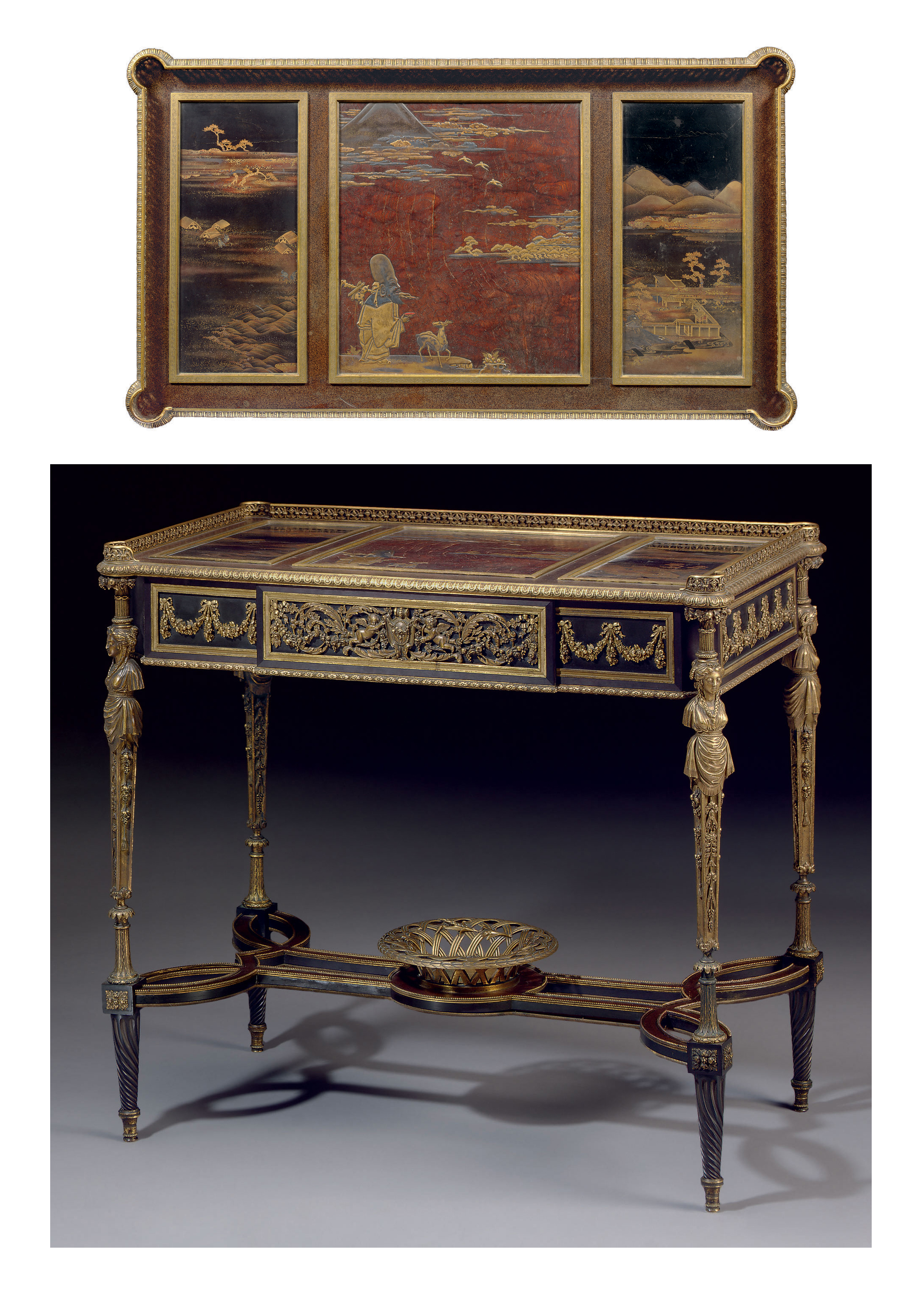 A FRENCH ORMOLU AND JAPANESE LACQUER-MOUNTED AVENTURINE, EBONY AND EBONIZED TABLE DE DAME